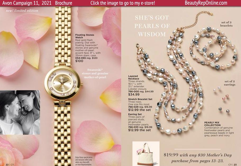 Avon Brochure Avon Jewelry Floating Stone Watch